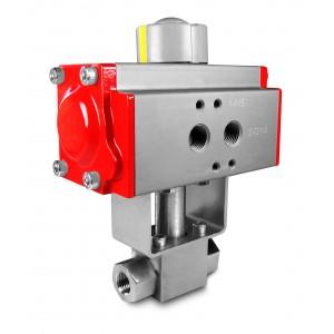 Supapă cu bilă cu presiune ridicată de 1/4 inch SS304 HB22 cu actuator pneumatic AT40