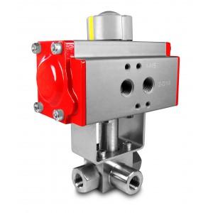 Valvă cu bilă cu 3 căi de înaltă presiune 1/2 inch SS304 HB23 cu dispozitiv de acționare pneumatică AT63
