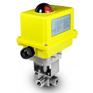 Supapă cu bilă cu 3 căi de înaltă presiune cu 1/4 inch SS304 HB23 cu dispozitiv de acționare electric A250