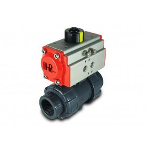 Supapă cu bilă UPVC 1 1/4 inch DN32 cu servomotor pneumatic AT40
