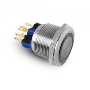 Buton 22mm din oțel inoxidabil IP65 LED 230V sau 24V albastru momentan
