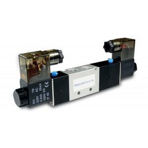 Supapă electromagnetică 5/3 4V230P 1/4 inch pentru cilindri pneumatici 230V sau 12V, 24V